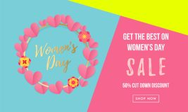 Women`s day sale poster or banner with heart wreath for Mother`s day holiday shop seasonal discount offer. Vector International Women`s Day on 8 March design stock illustration