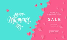 Women`s day sale poster or banner for Mother`s day holiday shop seasonal discount offer. Vector International Womens Day. Women`s day sale poster or banner for Stock Image