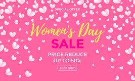 Women`s day sale poster or banner for Mother`s day holiday shop seasonal discount offer. Vector International Womens Day. Women`s day sale poster or banner for Stock Photo