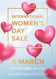 Women`s day sale poster banner of red heart balloons in light shine on blue background. Vector Women`s day sale text. Women`s day sale poster banner of red heart Stock Images