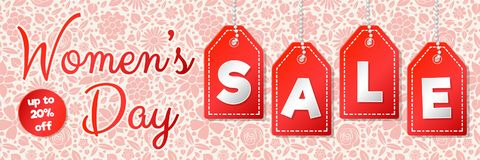 Women`s Day Sale - shiny banner. stock images