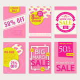Women`s Day sale. Vector banners set. Royalty Free Stock Photography