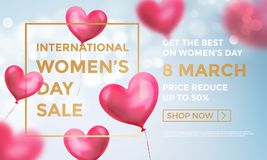 Women`s day sale web banner of red heart balloons in light shine on blue background. Vector Women`s day sale golden text. For holiday shop discount promo design Royalty Free Stock Photos