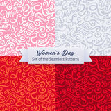 Women`s Day. Set of the Seamless Patterns stock illustration