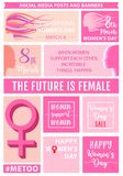Women`s day social media posts, vector set Royalty Free Stock Photo