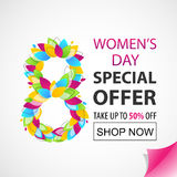Women`s Day Special Offer. Vector sale banner. The 8th of March. For your design Royalty Free Stock Images