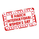 Women's Day Stamp. Illustration of a grunge stamp for International Women's Day in white background Stock Photography