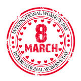 Women's Day Stamp. Illustration of a grunge stamp for International Women's Day in white background Stock Photo