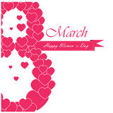 Women's day. Text with lot of hearts on a white background for women's day Royalty Free Stock Photography