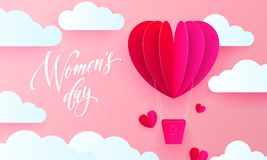 Women`s day text on pink paper art heart balloon with gift box on white cloud pattern background. Vector 8 March card. Women`s day text on pink paper art heart stock illustration