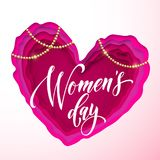 Women`s day text on pink paper cut heart background. Vector 8 March greeting card for mother`s day. Papercut heart. Icon with gold bead chaplet. International Royalty Free Illustration