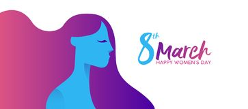 Women`s Day 8th march girl face profile banner. Happy Women`s Day 8th March illustration, beautiful long hair girl with celebration text typography quote Royalty Free Stock Images