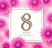 Women`s day vector banner design template with march 8 text. In white space with boarder and pink flowers elements in background for international women`s day vector illustration