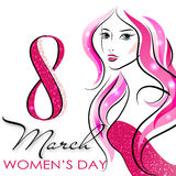 Women`s Day. Vector Greeting Card. The 8th of March Royalty Free Stock Images