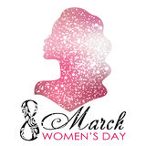 Women`s Day. Vector Greeting Card with Woman Silhouette. The 8th of March Stock Image