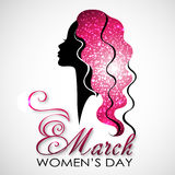 Women`s Day. Vector Greeting Card with Woman Silhouette. The 8th of March Stock Photo