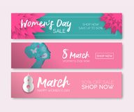 Women`s Day web sale banner set for internet store. Women`s Day sale set for holiday shopping. Special occasion web banner collection in modern paper cut style Stock Illustration