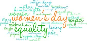 Women`s Day Word Cloud Stock Image