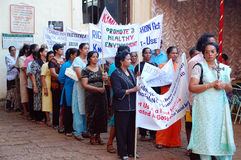 Women's Demonstration in India. Women's demonstration for civil rights and healthy environment in the Old Town in the state of Goa/India on the 26th of November Royalty Free Stock Photo