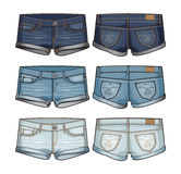 Women`s denim short shorts. Three shades of denim women`s shorts royalty free illustration