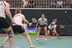 Women´s doubles badminton Stock Image