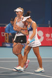 Women's doubles team royalty free stock image
