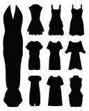 Women's dress,. Black silhouettes of women's dress Stock Illustration