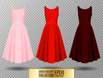 Women`s dress mockup collection. Dress with long pleated skirt. Realistic vector illustration. Fully editable handmade. Women`s dress mockup collection. Dress Stock Photos