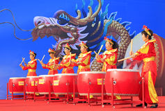 Women's drumming performances on the stage, china Royalty Free Stock Image