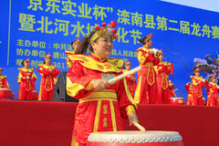 Women's drumming performances on the stage, china Stock Photography