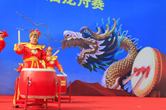 Women's drumming performances on the stage, china Royalty Free Stock Photos