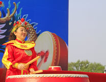 Women's drumming performances on the stage, china Stock Photo