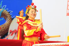Women's drumming performances on the stage, china Royalty Free Stock Images