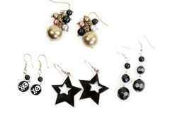 Women's earrings in pairs Stock Images