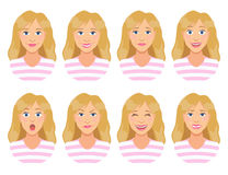 Women`s emotions. Female face expression. Cute cartoon girl. Royalty Free Stock Image