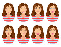 Free Women`s Emotions. Female Face Expression. Woman Avatar. Stock Photos - 95249213