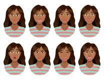 Women`s emotions. Female face expression. Woman avatar. Women`s emotions. Female face expression. Calm and smile, sadness and joy, surprise and anger, laughter Royalty Free Stock Photos