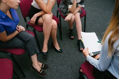 Women`s employment consultation job interview stock images