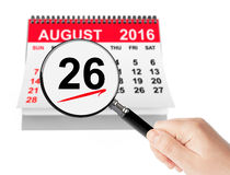 Women's Equality Day Concept. 26 August 2016 calendar with magni. Fier on a white background Royalty Free Stock Photography