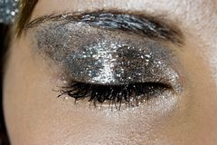 Women's eyes with fashion make up. Close up studio shot of women's eyes with fashion make up stock photography
