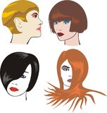 Women`s faces. Face pack, face, cream, face, powder, cut hair, put on make-up Royalty Free Stock Photo