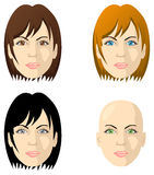 Women's faces, different color eyes and hair Royalty Free Stock Photo