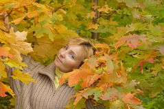 Women's Fall Portrait. Woman's face in the autumn leaves Royalty Free Stock Images