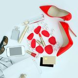 Women`s Fashion accessories are located on a white background.Square. Top view royalty free stock image