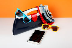 Women's Fashion Accessories. Your style - sunglasses, handbag an Royalty Free Stock Image