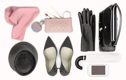 Women`s fashion accessory, high heels, skin care and lipstick are located on the white background. Isolated stock photos