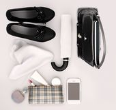Women`s fashion accessorys, high heels, skin care and lipstick are located on the white background. Isolated royalty free stock images