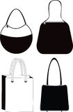 Women's Fashion Bag Silhouettes Royalty Free Stock Photo