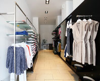 Women's fashion boutique. Women's fashion dress shop (boutique stock photography