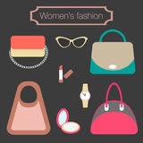 Women's fashion collection of bags and accessories Royalty Free Stock Image
